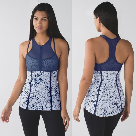 Lululemon Silver & Navy Printed Luxtreme Mesh Strappy Pedal Pace Tank